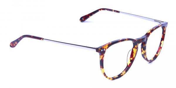 Neutral Round Glasses in Tortoiseshell Colour - 1