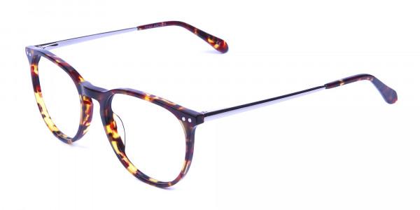 Neutral Round Glasses in Tortoiseshell Colour - 2
