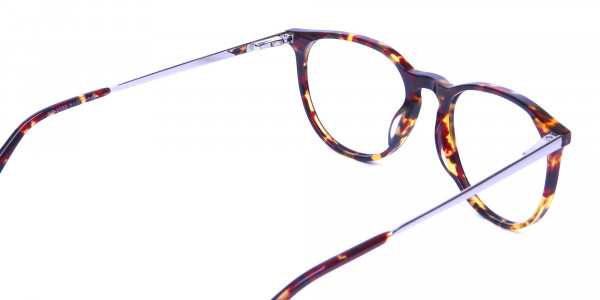 Neutral Round Glasses in Tortoiseshell Colour - 4