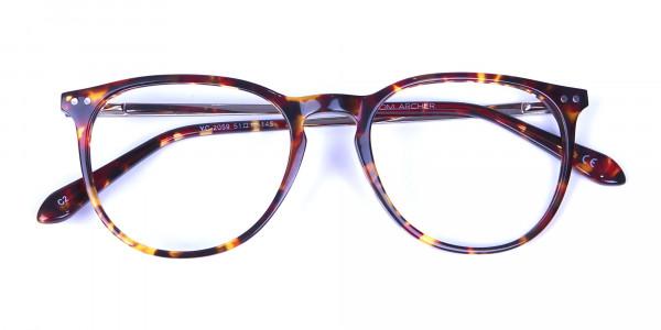 Neutral Round Glasses in Tortoiseshell Colour - 5