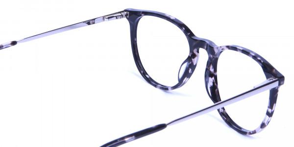 Black and Grey Round Tortoiseshell Eyeglasses -4