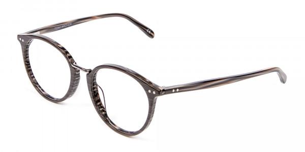 Grey Walnut Round Glasses Unisex - 2
