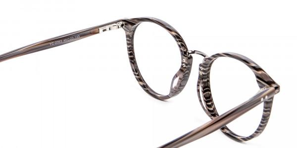 Grey Walnut Round Glasses Unisex - 4