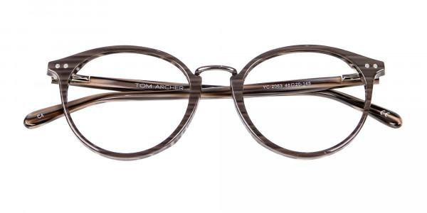 Grey Walnut Round Glasses Unisex - 5