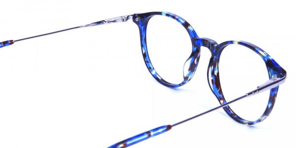 Ocean Blue Tortoise Glasses in Round  -4