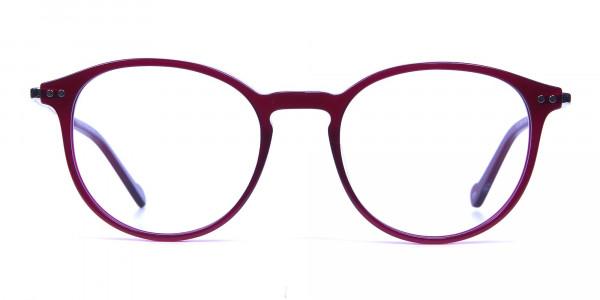 Burgundy red framed glasses