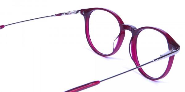 Burgundy red framed glasses -4