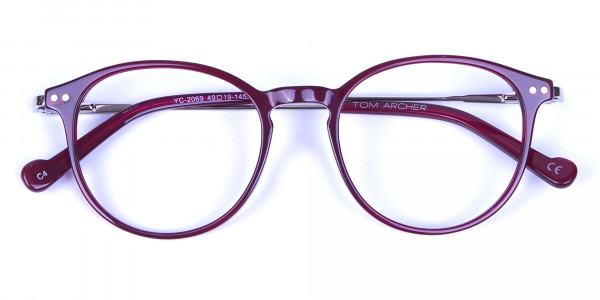 Burgundy red framed glasses -5