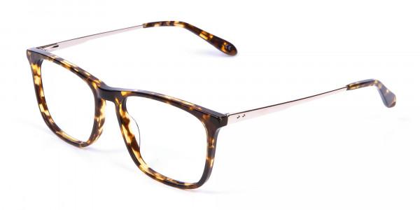 Tortoiseshell Glasses with Metal Arms - 2