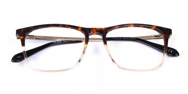 Tortoiseshell Rectangular Dual-Toned Glasses - 5