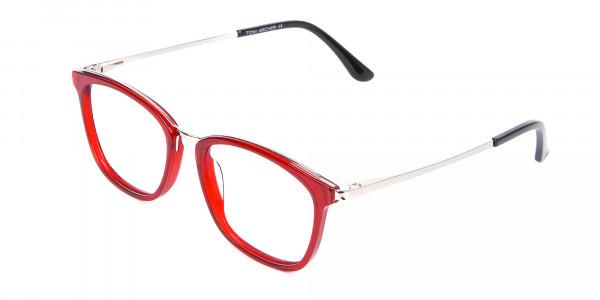 Material Mix Red Wayfarer Frame, Online UK-3