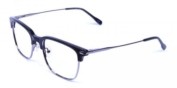 Black and Silver Browline Glasses -2