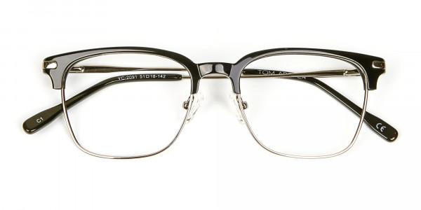 Black and Silver Browline Glasses -5