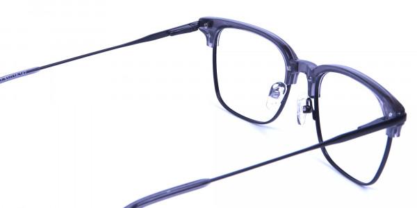 Transparent Grey Browline Glasses -4