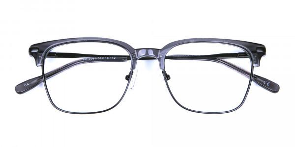 Transparent Grey Browline Glasses -5
