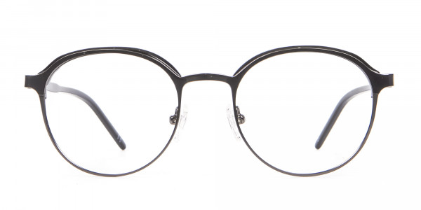 Black Mixed Material Round Glasses