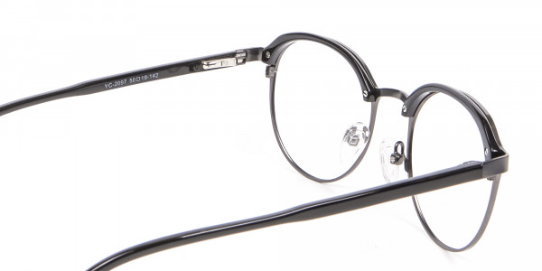 Black Mixed Material Round Glasses - 4