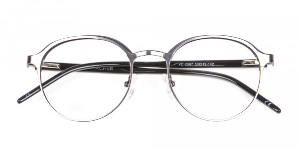 Black Mixed Material Round Glasses - 5