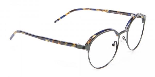 Green and Tortoiseshell Round Glasses - 1