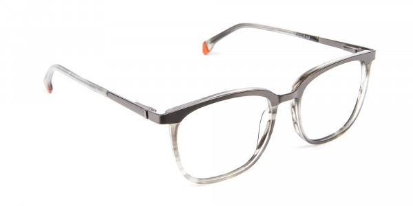 Silver Grey Square Glasses - 1