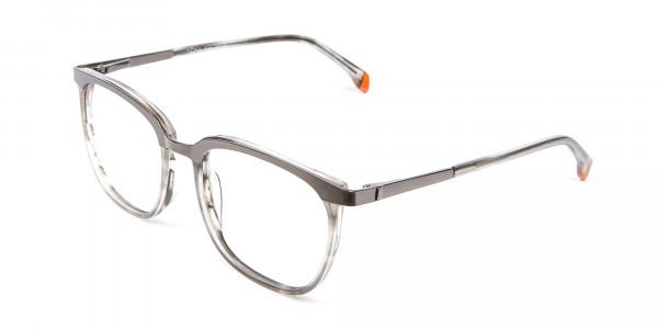 Silver Grey Square Glasses - 2