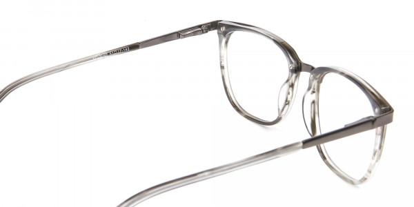 Silver Grey Square Glasses - 4