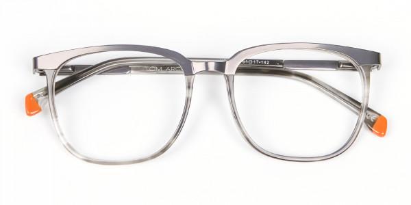 Silver Grey Square Glasses - 5
