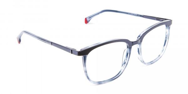 Smoky Blue Framed Glasses - 1