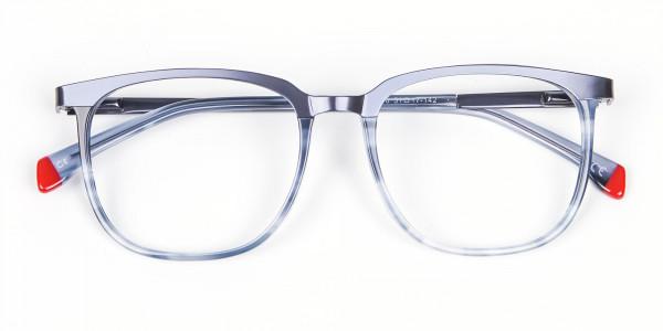 Smoky Blue Framed Glasses - 5
