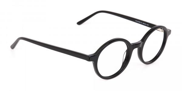 Black Round Acetate Eyeglasses Frame Unisex-2
