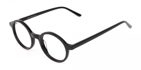 Black Round Acetate Eyeglasses Frame Unisex-3