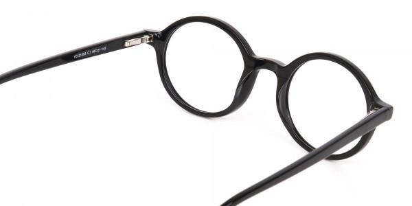 Black Round Acetate Eyeglasses Frame Unisex-5