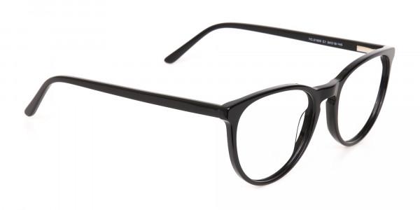 Black Acetate Round Eyeglasses Frame Unisex-2