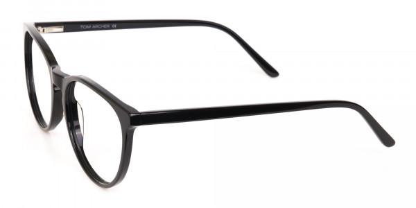 Black Acetate Round Eyeglasses Frame Unisex-3