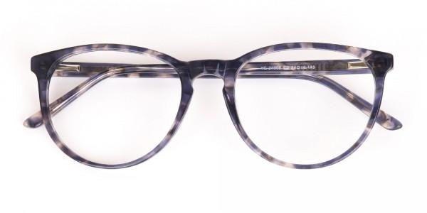 Dusty Blue Tortoise Acetate Round Glasses Frame-6