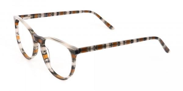 Silver Grey & Brown Stripe Round Eyeglasses-3