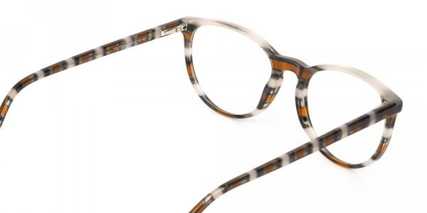 Silver Grey & Brown Stripe Round Eyeglasses-5