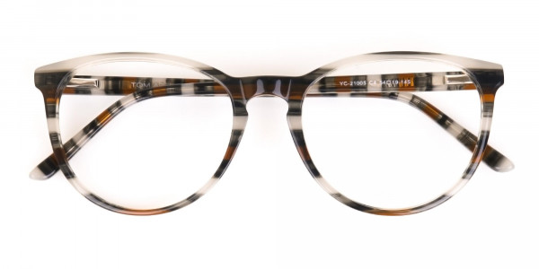 Silver Grey & Brown Stripe Round Eyeglasses-6