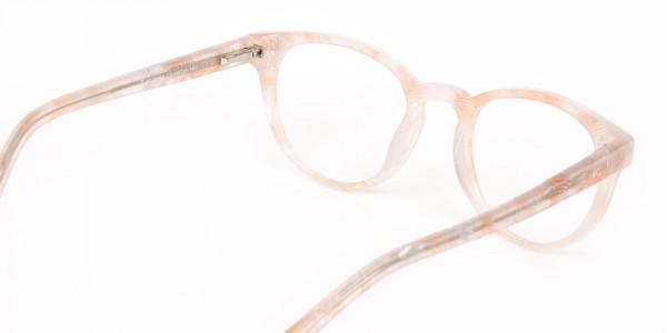 Brown Translucent Nude & Stripe round Glasses-5