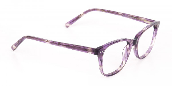 Violet Purple Marble Acetate Rectangle Glasses-2