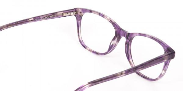 Violet Purple Marble Acetate Rectangle Glasses-5