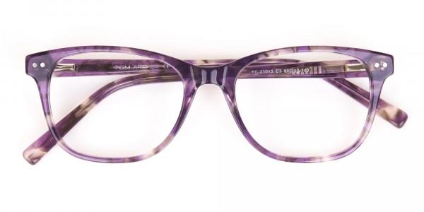 Violet Purple Marble Acetate Rectangle Glasses-6