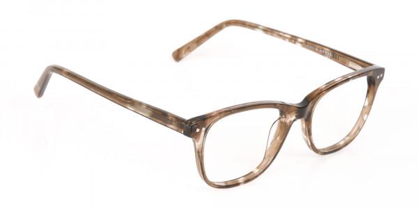 Beige Tortoise Acetate Rectangle Glasses Unisex-2