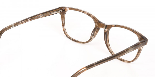 Beige Tortoise Acetate Rectangle Glasses Unisex-5