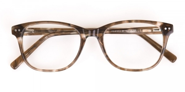 Beige Tortoise Acetate Rectangle Glasses Unisex-6