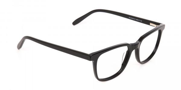 Black Acetate Rectangle Glasses Frame Unisex-1=2