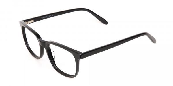 Black Acetate Rectangle Glasses Frame Unisex-3
