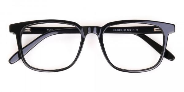 Black Acetate Rectangle Glasses Frame Unisex-6