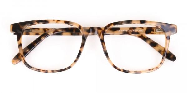 Cream Tortoise Rectangular Glasses Acetate Unisex-6