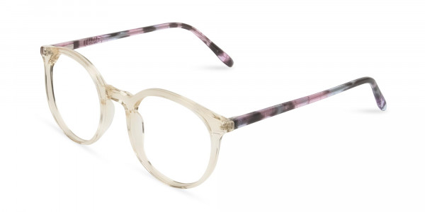 Crystal Amber Yellow Glasses Frames with Pink & Blue Tortoise Temple - 3